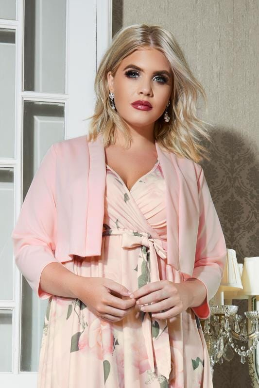 Plus Size Shrugs YOURS LONDON Pink Bolero Jacket