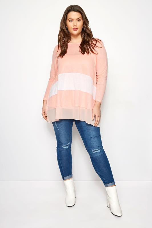 YOURS LONDON Pink Knitted & Chiffon Colour Block Top
