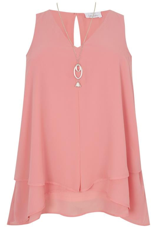 Blouses  Grande Taille YOURS LONDON - Top Volanté Rose en Mousseline