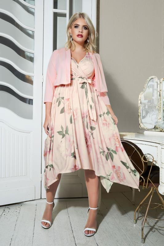 YOURS LONDON Pink Floral Jersey Wrap Dress With Hanky Hem