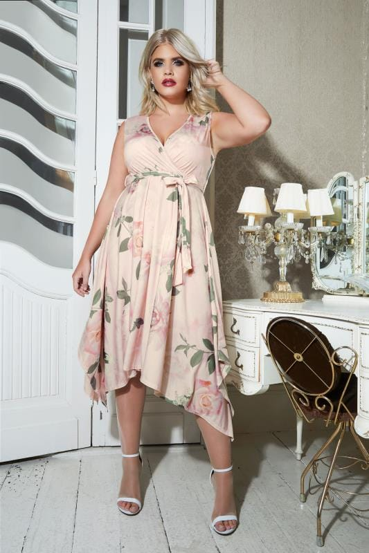 Plus Size Midi Dresses YOURS LONDON Pink & Multi Floral Wrap Dress With Hanky Hem