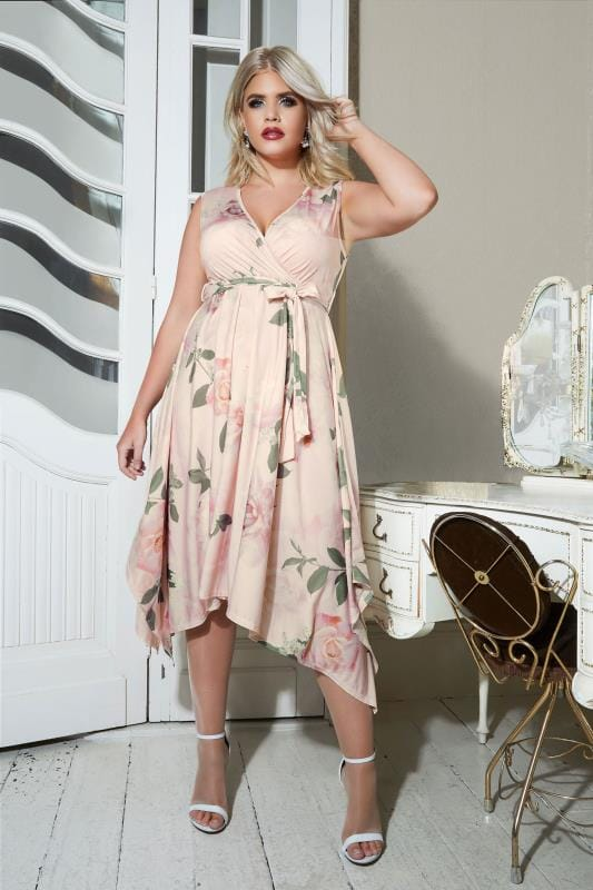 Plus Size Midi Dresses YOURS LONDON Pink Floral Wrap Dress With Hanky Hem
