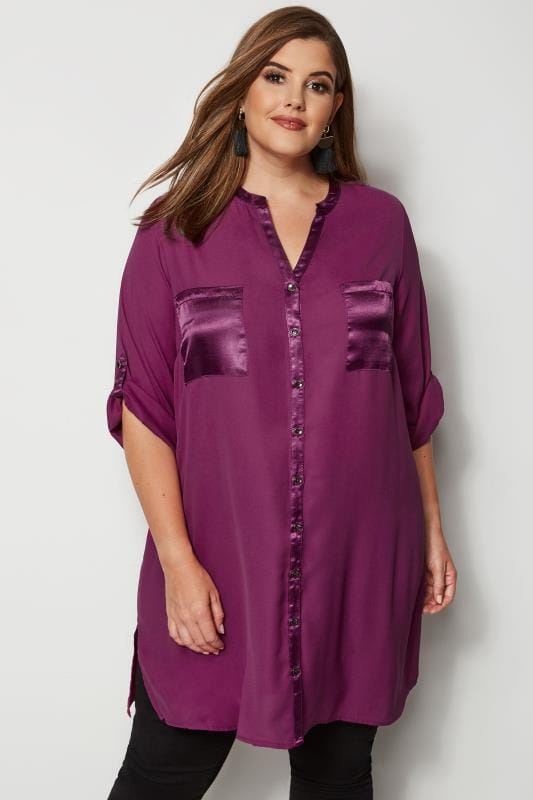 b2516a1cd8e8d Plus Size Shirts YOURS LONDON Purple Chiffon Blouse With Satin Trim