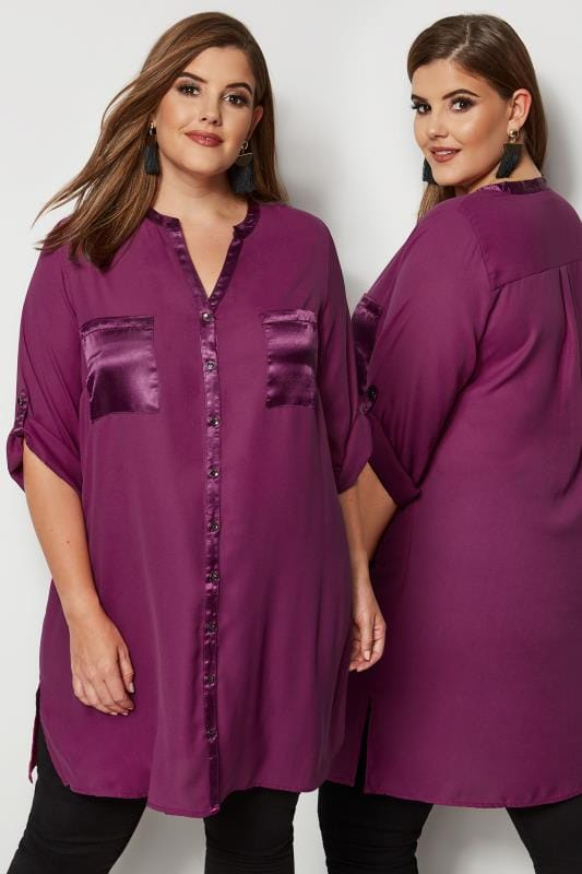 Plus Size Shirts YOURS LONDON Purple Chiffon Blouse With Satin Trim