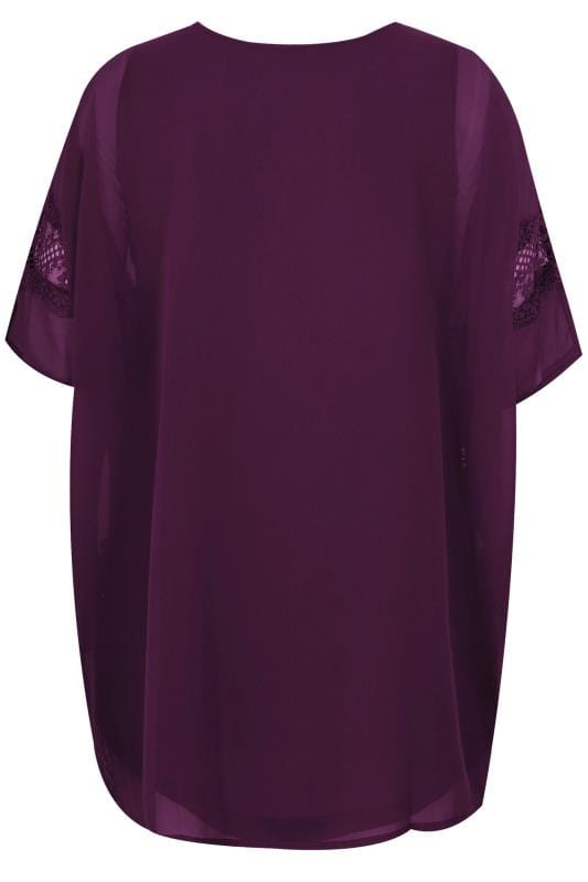 Plus Size Party Tops YOURS LONDON Purple Chiffon Cape Top With Free Necklace