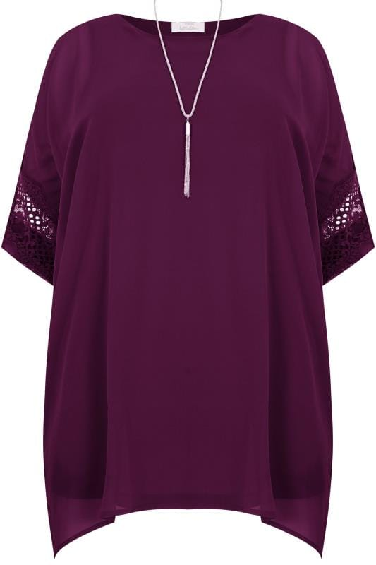 Plus Size Party Tops YOURS LONDON Purple Chiffon Cape Top With Lace Trim & Free Necklace