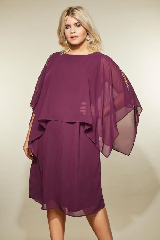 3b3273900e3 YOURS LONDON Purple Embellished Cape Dress, Plus size 16 to 32