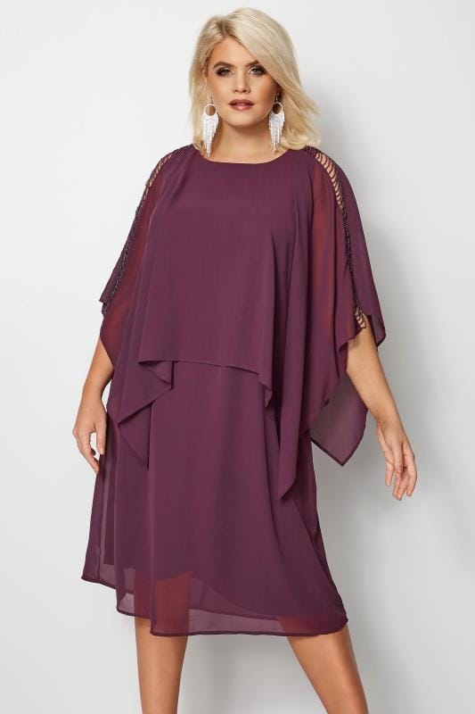 Plus Size Midi Dresses YOURS LONDON Purple Embellished Cape Dress