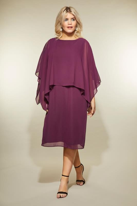 YOURS LONDON Purple Embellished Cape Dress