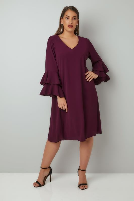 YOURS LONDON Purple Shift Dress With Layered Flute Sleeves