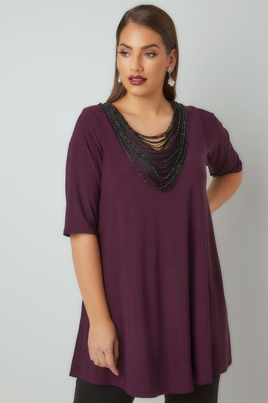 Smart Jersey Tops YOURS LONDON Purple Slinky Jersey Top With Beaded Necklace Trim 156298