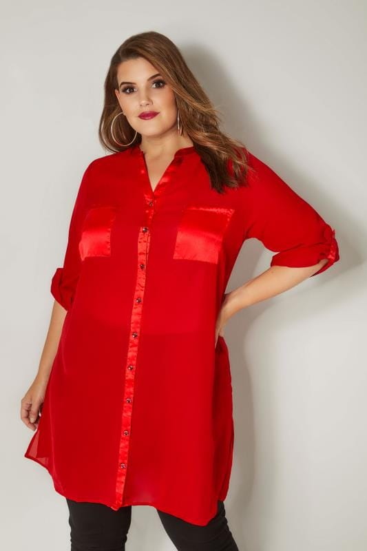 Plus Size Shirts YOURS LONDON Red Chiffon Blouse With Satin Trim