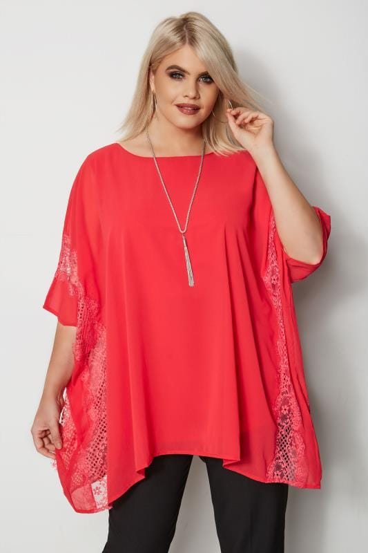 Plus Size Blouses YOURS LONDON Red Chiffon Cape Top