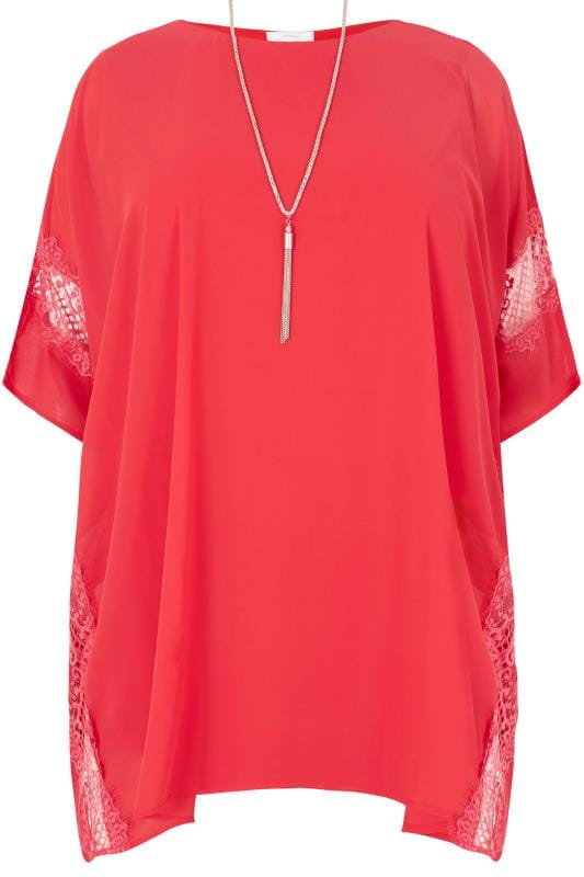 Plus Size Blouses YOURS LONDON Red Chiffon Cape Top With Free Necklace
