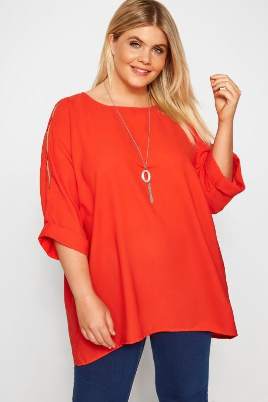 Plus Size YOURS LONDON Red Cold Shoulder Cape Blouse