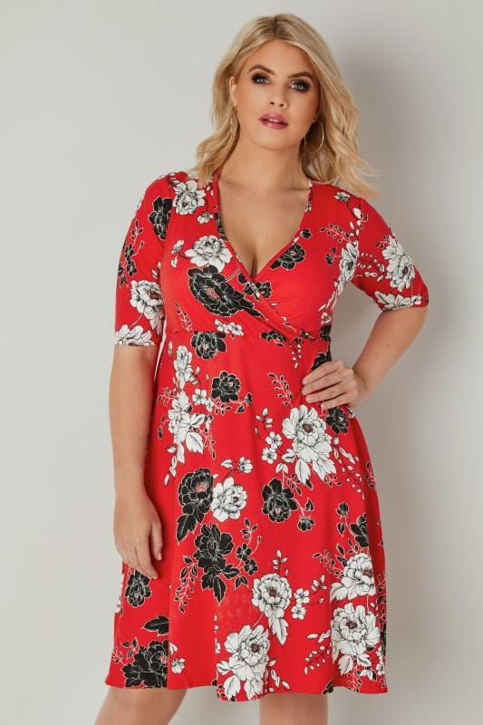 YOURS LONDON Red Floral Wrap Dress