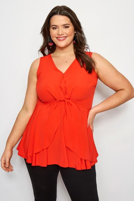 Plus Size Vests & Camis YOURS LONDON Red Knot Front Peplum Vest