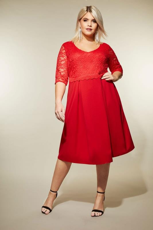 b7ba488b0e01 YOURS LONDON Red Midi Dress with Lace Overlay, Plus size 16 to 36
