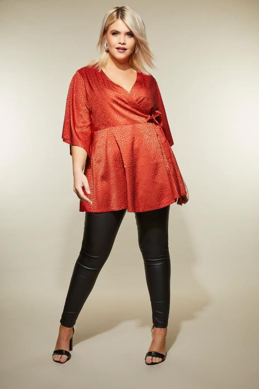 YOURS LONDON Red Satin Animal Print Wrap Top