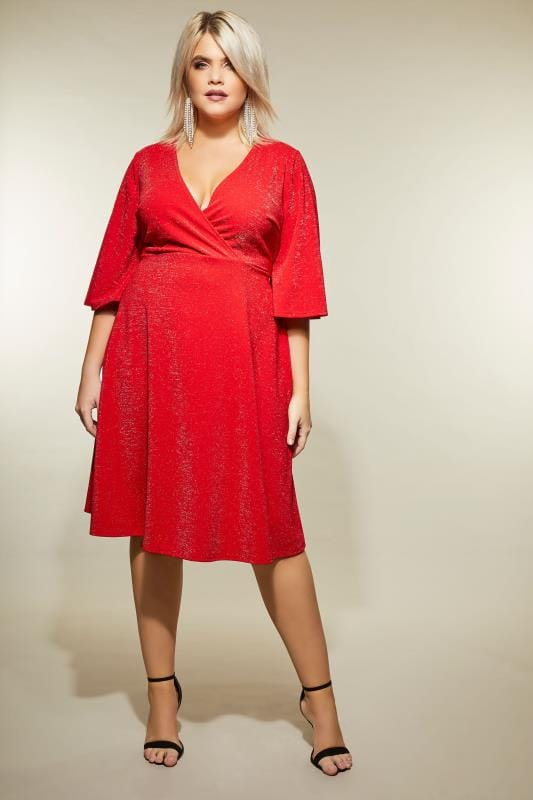 YOURS LONDON Red Sparkle Wrap Dress