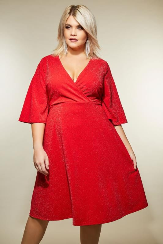 Plus Size Party Dresses YOURS LONDON Red Sparkle Wrap Dress