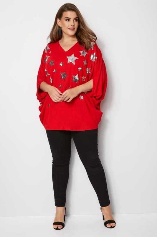 YOURS LONDON Red Star Cape Top