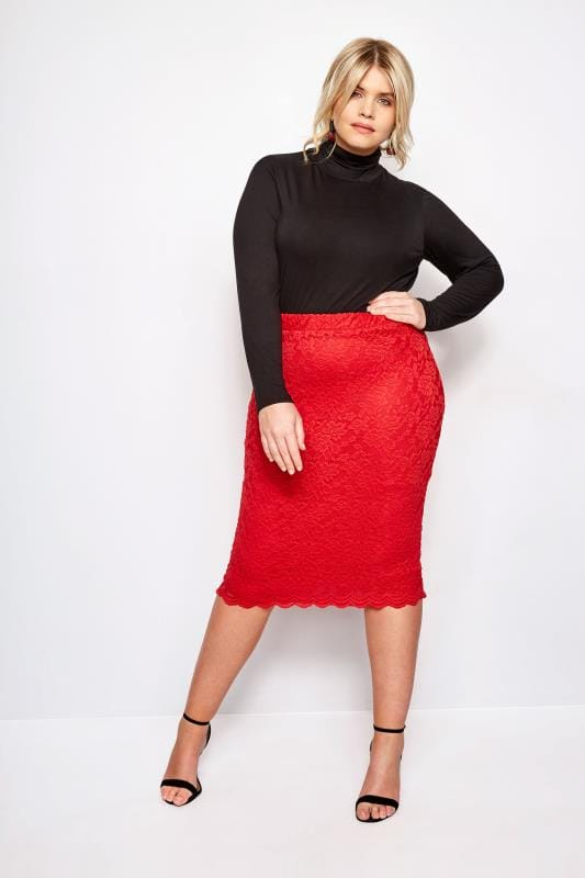 Plus Size Pencil Skirts YOURS LONDON Red Stretch Lace Pencil Skirt With Scalloped Hem