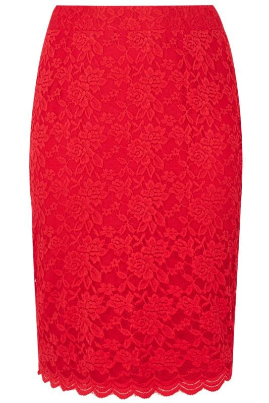 Grote maten Grote maten Kokerrokken YOURS LONDON Red Stretch Lace Pencil Skirt With Scalloped Hem
