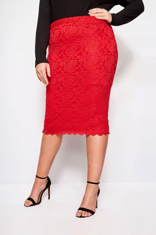 YOURS LONDON Red Stretch Lace Pencil Skirt With Scalloped Hem