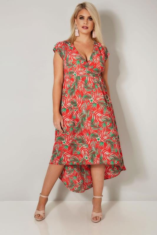 Plus Size Midi Dresses YOURS LONDON Red Tropical Print High Low Wrap Dress