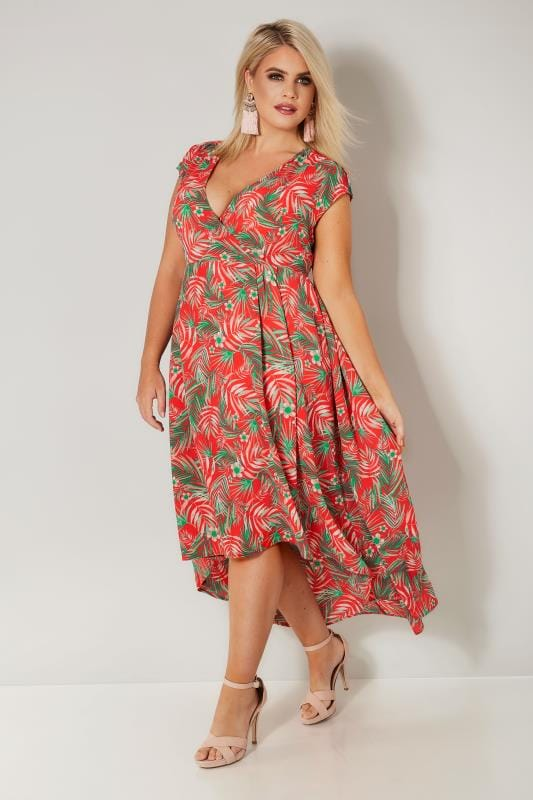 YOURS LONDON Red Tropical High Low Wrap Dress