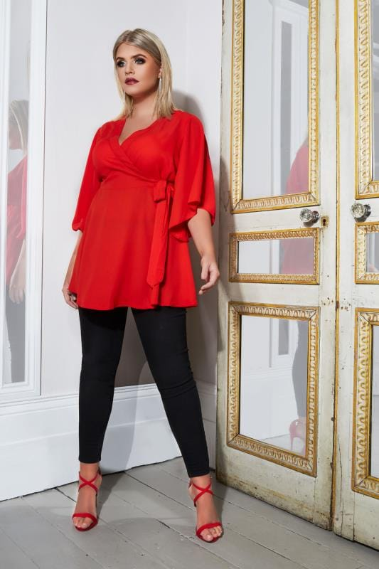YOURS LONDON Red Wrap Blouse With Kimono Sleeves