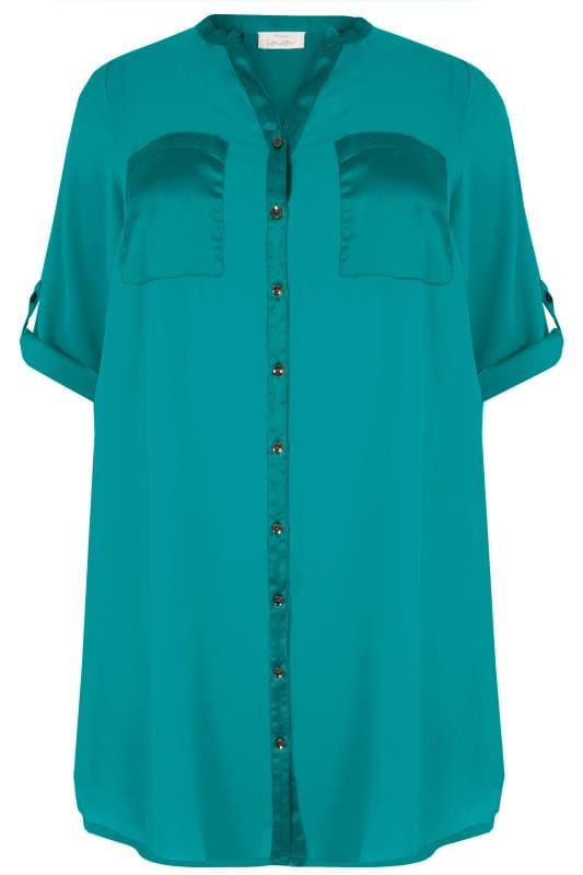 Plus Size Shirts YOURS LONDON Teal Blue Chiffon Blouse With Satin Trim