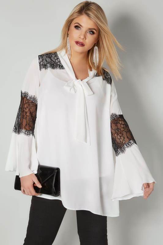 Plus Size Blouses YOURS LONDON White & Black Pussy Bow Chiffon Blouse With Lace Inserts