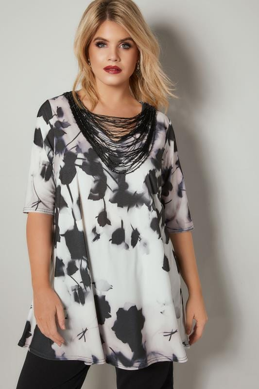 Plus Size Smart Jersey Tops YOURS LONDON White & Black Slinky Jersey Top With Beaded Necklace Trim