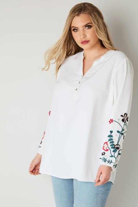 Plus Size Blouses YOURS LONDON White Blouse With Floral Embroidered Sleeves