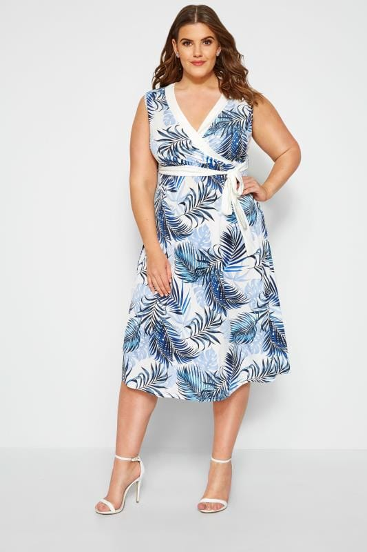 Plus Size Jersey Dresses YOURS LONDON White & Blue Tropical Print Wrap Dress