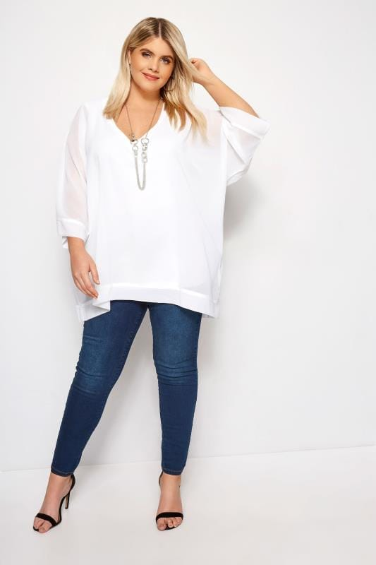YOURS LONDON Witte chiffon blouse + ketting