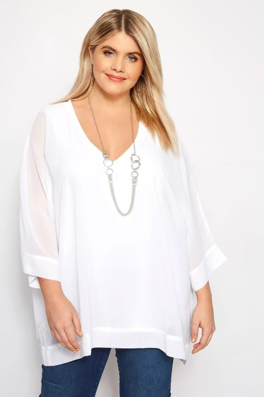 party tops YOURS LONDON Witte chiffon blouse + ketting