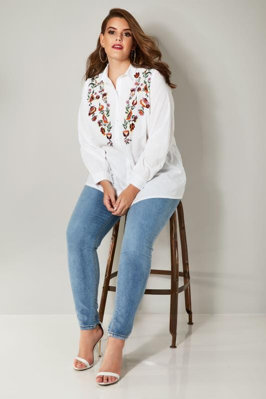 YOURS LONDON White Floral Embroidered Shirt
