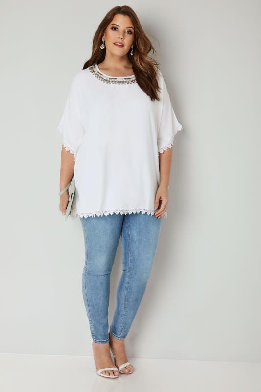 YOURS LONDON White Embellished Cape Top With Lace Trim