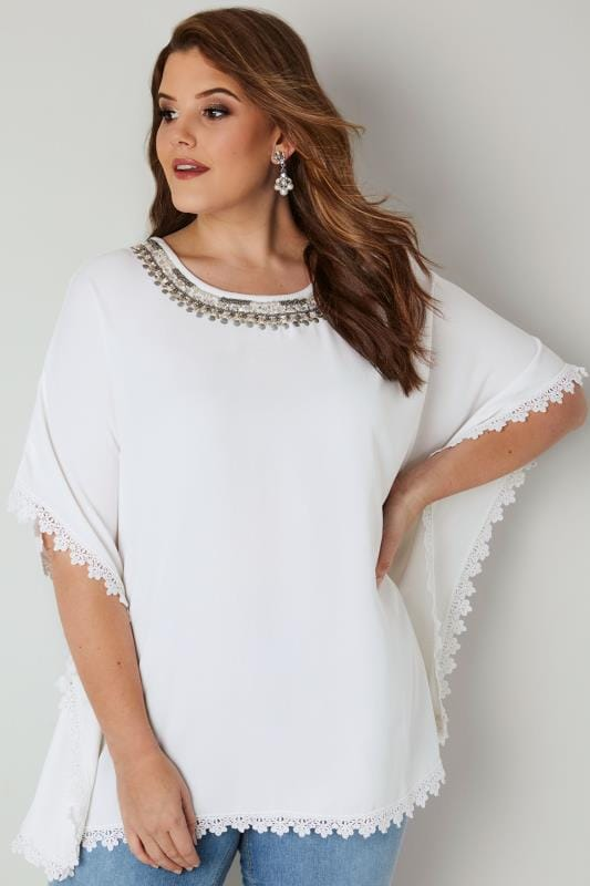 Plus Size Blouses & Shirts YOURS LONDON White Embellished Cape Top With Lace Trim