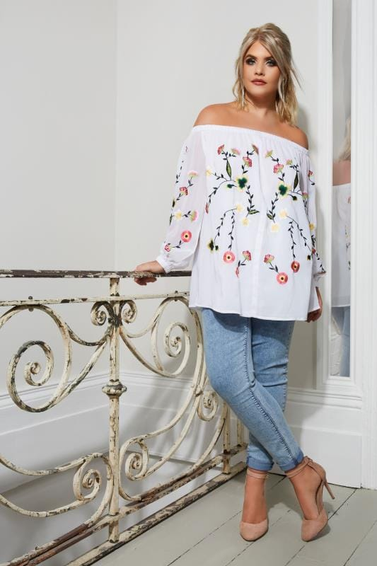 YOURS LONDON White Embroidered Bardot Top