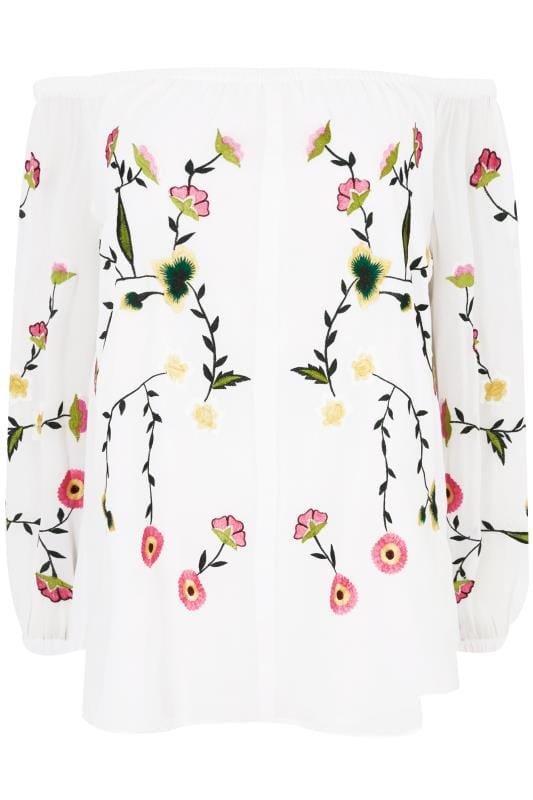 295e29778aa6b YOURS LONDON White Floral Embroidered Bardot Top