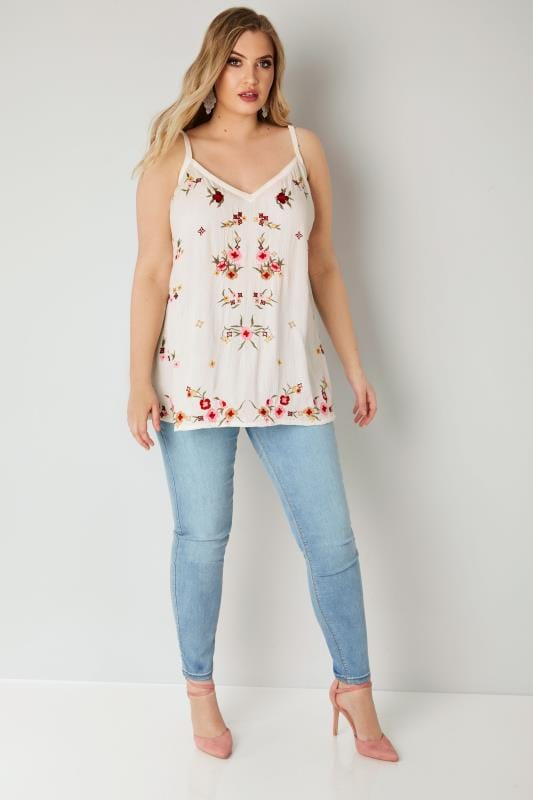 YOURS LONDON White Floral Embroidered Cami Top