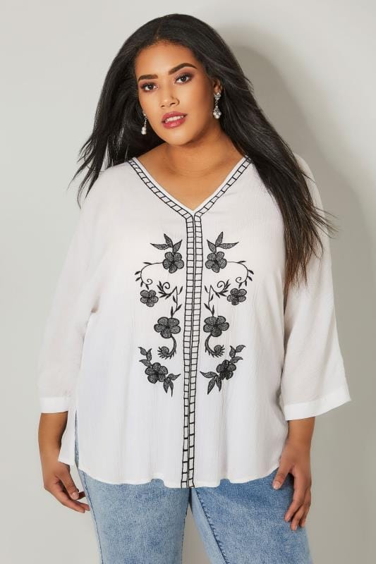 YOURS LONDON White Floral Embroidered Cape Top
