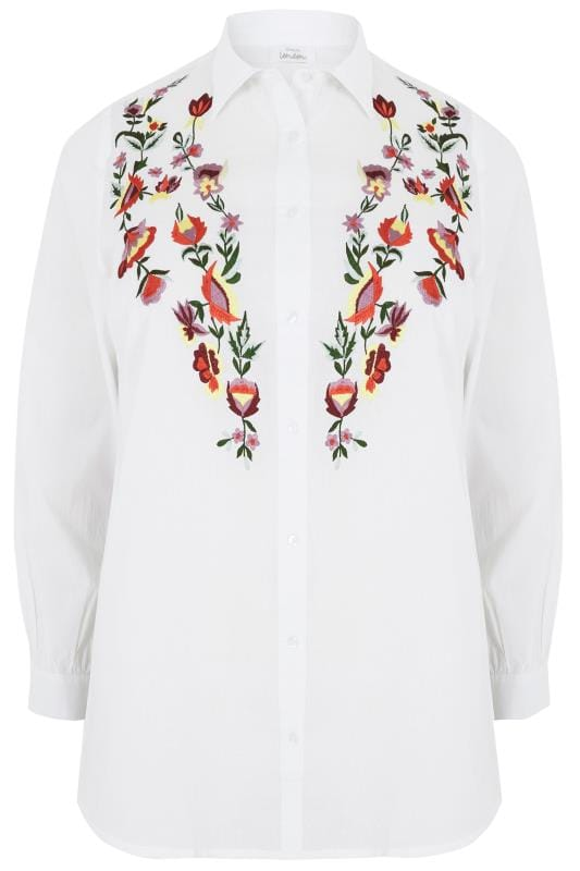 YOURS LONDON White Cotton Floral Embroidered Shirt