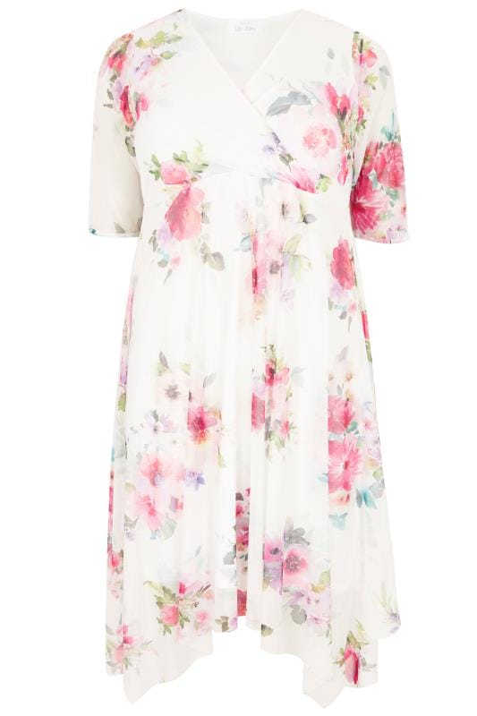 Plus Size Wrap Dresses YOURS LONDON White Floral Mesh Midi Dress With Hanky Hem