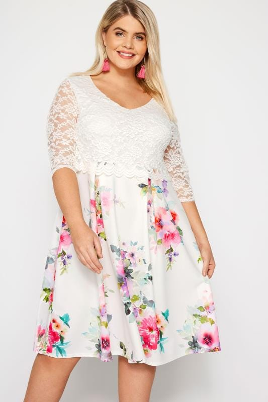 Plus Size Skater Dresses YOURS LONDON White Floral Midi Dress with Lace Overlay