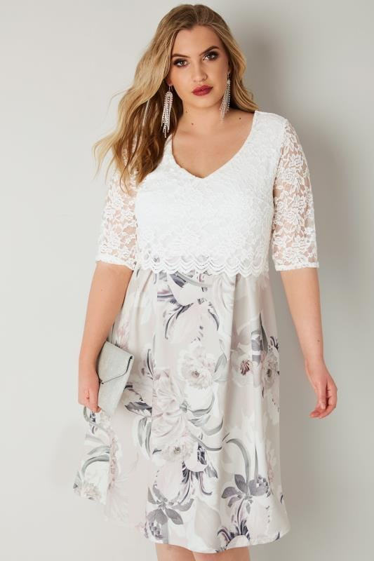 Plus Size Skater Dresses YOURS LONDON White & Grey Floral Print Lace Overlay Midi Dress